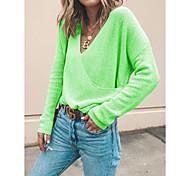 economico -Per donna Abito a T shirt Mini abito corto Bianco Blu Viola Giallo Verde Manica lunga Tinta unica Con stampe Autunno Inverno Rotonda Casuale 2021 S M L XL XXL 3XL 4XL 5XL