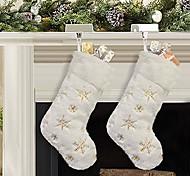 economico -calze natalizie 1 pezzo 19 pollici poliestere classico rosso e bianco peluche calze di velluto mercerizzato per vacanze in famiglia decorazioni per feste natalizie