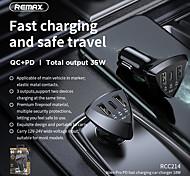 abordables -chargeur de voiture remax rcc214 2 double usb a type a 1 pd 52w alimentation 4.8a 3 ports charge rapide rapide au téléphone 12v-24v couleur noire 1pcs al abs meterials