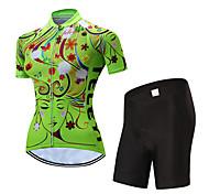 economico -21Grams Per donna Manica corta Maglia con pantaloncini da ciclismo Giallo Rosso Blu Strisce Botanico floreale Bicicletta Resistente ai raggi UV Traspirazione umidità Asciugatura rapida Gli sport
