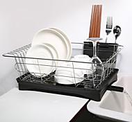 abordables -Acier inoxydable monocouche plat rack cuisine organisateur de stockage égouttoir plaque de séchage étagère évier couteau fourchette conteneur accessoire