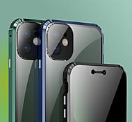 abordables -téléphone Coque Pour Apple Coque Intégrale Adsorption Magnétique iPhone 12 Pro Max 11 Pro Max Antichoc Magnétique Anti peep Couleur Pleine Métal