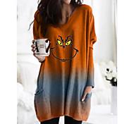 economico -Per donna Abito a T shirt Mini abito corto Arancione Verde Manica lunga Con stampe Animali Collage Con stampe Autunno A V Casuale Natale 2021 S M L XL XXL 3XL 4XL 5XL / Taglie forti