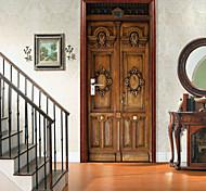 abordables -Rétro porte en bois sculpté autocollants de porte créatifs auto-adhésifs pour salon bricolage décoratif maison autocollants muraux imperméables