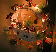 abordables -2m 20led guirlande de noël lumières pomme de pin baies rouges 2 pièces 1 pc guirlande de noël guirlande de lumières pour mariage arbre de noël cadeau maison fête chambre décor