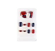 economico -24 pezzi blu e rosso nuova serie geometrica unghie finte finito nail art patch unghie finte che indossano nail art nail patch color nail patch