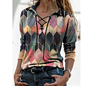 economico -Per donna maglietta Monocolore Manica lunga Colletto Top Hawaiano Top basic Blu Viola Rosa
