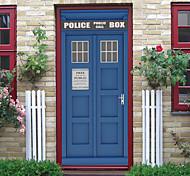 abordables -Autocollants de porte de cabine téléphonique créatifs auto-adhésifs pour salon décoration de bricolage autocollants muraux imperméables à la maison