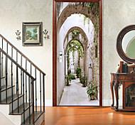 abordables -2 pièces auto-adhésives créatives autocollants de porte de grotte pour salon bricolage décoratif maison autocollants muraux imperméables
