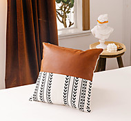 economico -Fodera per cuscino in tela di canapa in pelle stampata in bianco e nero