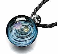 economico -Collana con pendente a forma di pianeta dello spazio della galassia dell'universo stereo della sfera di vetro di lampwork 2pcs