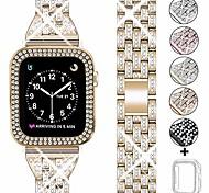 economico -compatibile apple watch band 38mm 40mm 42mm 44mm con cassa donna, cinturino in metallo con strass gioielli cinturino con custodia protettiva bling pc sostituzione per serie iwatch 5 4 3 2 1 (champagne