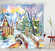 abordables -noël petit pont village impression numérique rideau de douche rideaux de douche crochets polyester moderne nouveau design