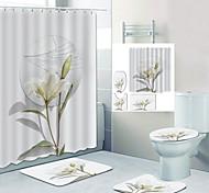 economico -specchio rotto fiori baise stampa digitale set di quattro pezzi tende da doccia e ganci moderna macchina in poliestere fatto bagno impermeabile