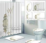 abordables -reflet dans l'eau motif impression salle de bain rideau de douche toilettes loisirs conception quatre pièces