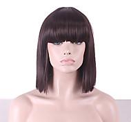 abordables -perruque synthétique hathaway partie médiane perruque brun couleur de cheveux naturels cheveux raides perruque de vacances perruque cosplay cheveux mi-longs cheveux synthétiques 12 pouces femmes