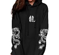 abordables -Femme Sweat-shirt à capuche Dragon Graphique Poche avant Quotidien basique Simple Pulls Capuche Pulls molletonnés Noir