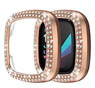 abordables -étui pour fitbit sense / versa 3-2 pack double rangée de diamants de cristal cadre de pare-chocs plaqué pc couverture de protection bling (sans protecteur d'écran) étui de protection pour femmes