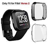 abordables -2 paquets de protection d'écran plaqué TPU souple étui de protection complet compatible avec Fitbit Versa 2 montre intelligente anti-rayures anti-éclatement anti-impact