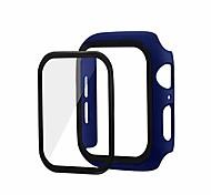 abordables -pour apple watch se / watch 6 44mm étui protecteur pc dur avec 360 film de verre couche complète antichoc et incassable pour apple watch se / watch 6 44mm (bleu)