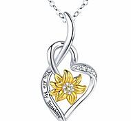 economico -collana girasole 925 sterling silver tu sei il mio sole ciondolo cuore gioielli regali di compleanno anniversario di natale per le sue donne