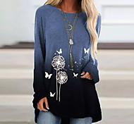 abordables -Femme Robe Évasée Robe courte courte Bleu Violet Vert Manches Longues Imprimé Automne Col Rond Simple 2021 S M L XL XXL 3XL