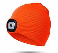 abordables -Bonnet unisexe à LED avec lumière, cadeaux pour enfants garçons et filles enfants capuchon de phare rechargeable mains libres USB 4 LED (orange)