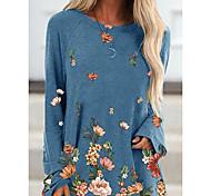 economico -Per donna Abito a T shirt Mini abito corto Blu Cachi Grigio Manica lunga Fantasia floreale Animali Collage Con stampe Autunno Rotonda Casuale 2021 S M L XL XXL 3XL 4XL 5XL / Taglie forti