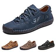 abordables -Homme Basket Chaussures d'entraînement Couture à la main Quotidien De plein air Marche Cuir Fait à la main Ne glisse pas Noir Jaune Bleu Automne