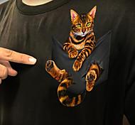 abordables -T-shirt Femme Quotidien Sans Doublure Chat 3D Imprimés Photos Manches Courtes Imprimé Col Rond Hauts Standard Haut de base basique Blanche Noir