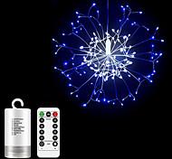 abordables -4pcs 2pcs starburst guirlande lumineuse led chaîne de fil de cuivre 8 modes avec 13 touches télécommande feu d'artifice cadeau de noël décoration chaud blanc blanc bleu nouvel an vacances étanche ext