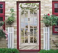 abordables -Autocollants de porte de fenêtre d'imitation créative auto-adhésive pour salon bricolage décoratif maison autocollants muraux imperméables