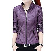 economico -giacca da motociclista da motociclista in ecopelle sottile con zip frontale con colletto alla coreana da donna (piccola, viola)