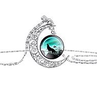 economico -cupola luna ululante lupo tempo gemme collane con ciondolo scava fuori gioielli di moda intagliati (stile 6)