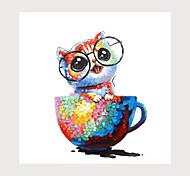 abordables -tasse chat peinture à l'huile sur toile art contemporain abstrait peintures murales peinture à la main décorations de bureau à domicile toile art mural peinture toile roulée (sans cadre)