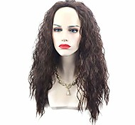 abordables -cheveux longs moana cosplay perruque marron longue perruque permanente bouclée cheveux costume parti postiche accessoires