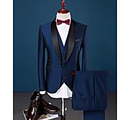 abordables -Bleu Roi Couleur Pleine Coupe Slim Spandex / Coton / Polyester Costume - Col Châle Droit 1 bouton / costumes