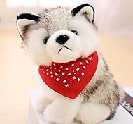 economico -simulato cane husky peluche bambole giocattolo cucciolo animale regali per bambini regalo di compleanno decorazione auto per la casa con sciarpa triangolare rossa