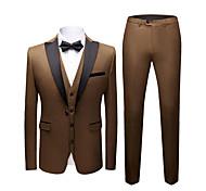abordables -Noir / Rouge Bordeaux / Bleu Roi Couleur Pleine Coupe Slim Polyester Costume - En Pointe Droit 1 bouton / costumes