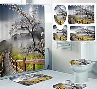 abordables -motif de paysage naturel impression salle de bain rideau de douche toilettes de loisirs conception en quatre pièces