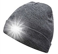 abordables -chapeau de course, lampe de poche 5 LED garder la lumière au chaud bonnet bonnet pour courir, chasser, camping (gris)