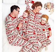 abordables -Regard de la famille Lots de Vêtements pour Famille Ensemble de Vêtements Graphique Animal Manches Longues Imprimé Rouge Noël