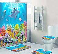 abordables -monde sous-marin motif impression salle de bain rideau de douche toilettes de loisirs conception en quatre pièces