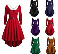 abordables -Déguisement Halloween Femme Costume de père noël Noël Costume Noël Halloween Noël Festival Velours Noir Violet Rouge Costumes Carnaval / Robe