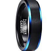 economico -Anello di fidanzamento con anello in carburo di tungsteno nero e blu da 6 mm, comfort con bordi smussati, misura 9