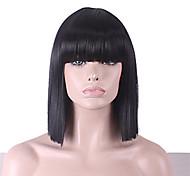 abordables -perruque synthétique hathaway partie médiane perruque noire courte droite synthétique cheveux 12 pouces femmes synthétique sexy lady coiffure