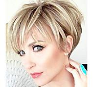 abordables -perruques de coupe de lutin courte perruque de couche moelleuse élégante aucune perruque de remplacement de dentelle avec une frange pour les femmes brun mélange perruque blonde courte