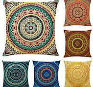 abordables -housse de coussin 6pc lin doux mandala bohème décoratif carré housse de coussin taie de coussin taie d'oreiller pour canapé chambre 45 x 45 cm (18 x 18 pouces) qualité supérieure lavable en mashine