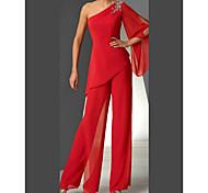 abordables -Deux Pièces Tailleur-pantalon Robe de Mère de Mariée  Elégant Rétro Vintage Une Epaule Longueur Sol Mousseline de soie Manches Longues avec Plissé 2021
