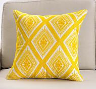abordables -mode simple création originale conception simple face 3d jaune serviette brodé coton toile taie d'oreiller couverture salon chambre canapé housse de coussin